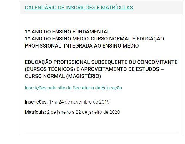 Calendário da Matrícula SEDUC RS 2021
