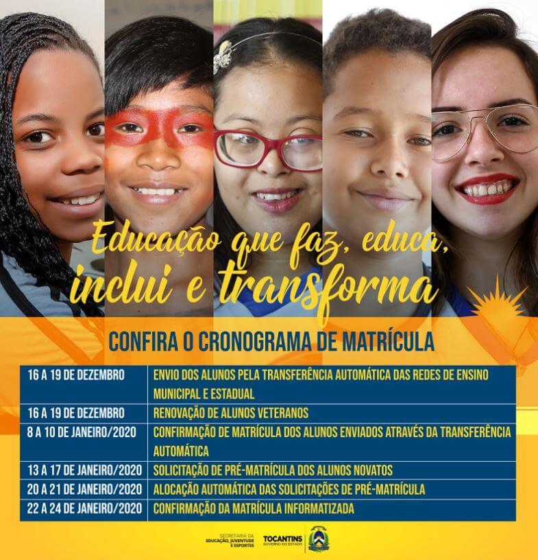 Calendário da Matrícula SEDUC TO 2022