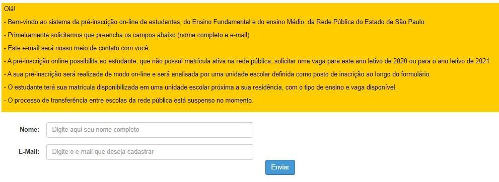 Pré-matrícula 2021 online passo a passo